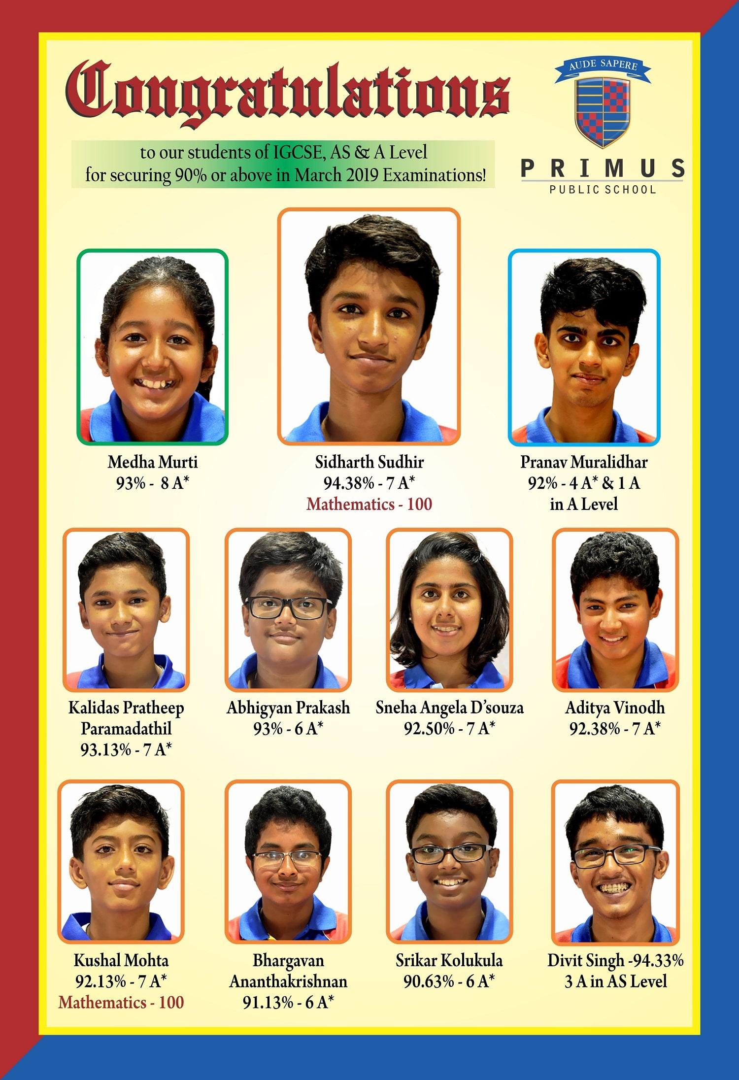 CAIE Results | PRIMUS PUBLIC SCHOOL